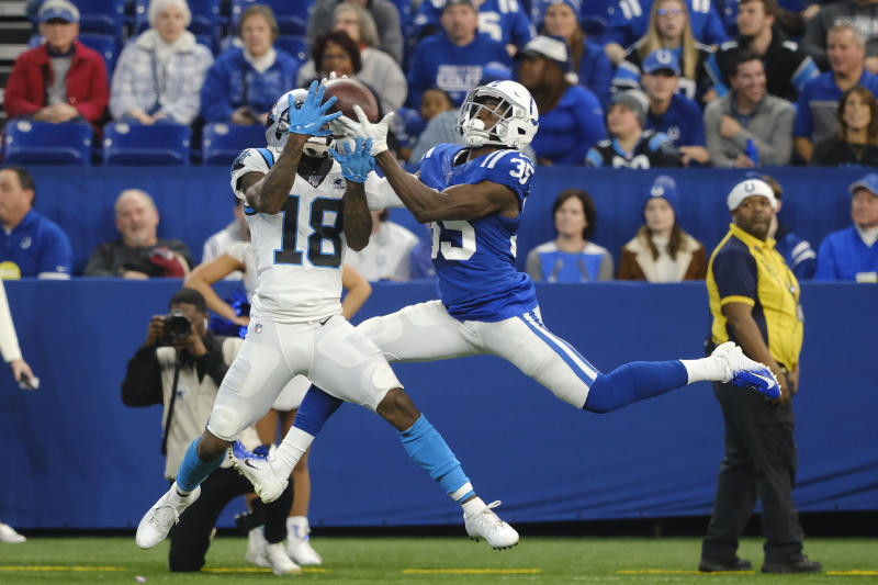 Indianapolis Colts' Pierre Desir makes in interception against Carolina Panthers' DeAndrew White (18) during the second half of an NFL football game, Sunday, Dec. 22, 2019, in Indianapolis. (AP Photo/AJ Mast)