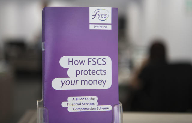 A leaflet from the Financial Services Compensation Scheme in a bank in Cardiff, UK. Photo: Matthew Horwood/Getty Images