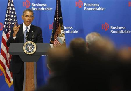 U.S. President Barack Obama delivers remarks at a business roundtable with company CEOs in Washington, September 18, 2013.