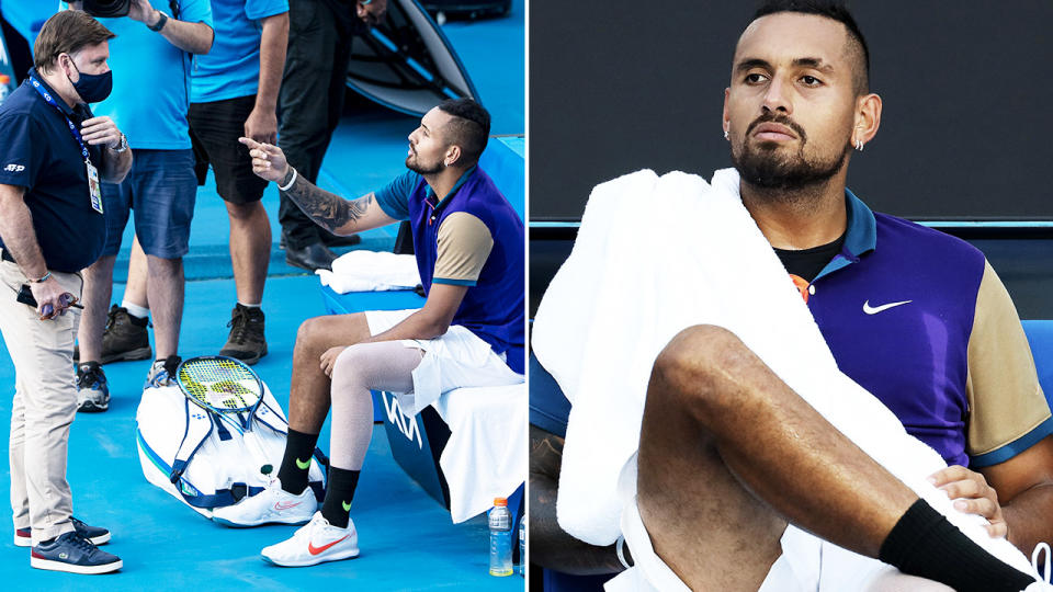 Nick Kyrgios, pictured here refusing to play at the Murray River Open.