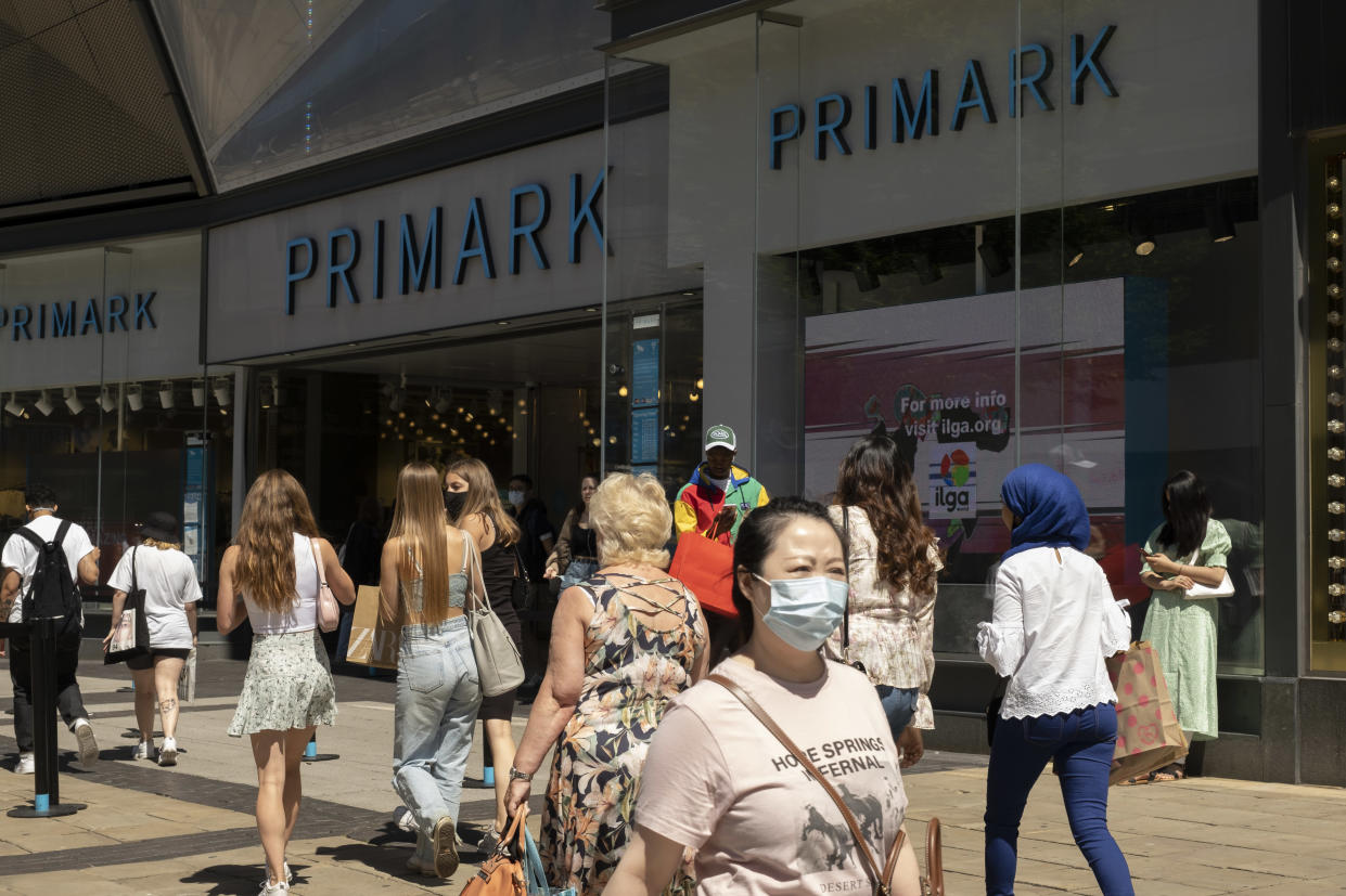 As the coronavirus restrictions continue and the government is about to announce an extension to the original 'freedom day' planned for June, slowing the process of easing, more and more people begin to come to the city centre, seen here outside Primark near the Bullring shopping centre on 15th June 2021 in Birmingham, United Kingdom. After months of lockdown, the first signs that life will start to get back to normal continue, with more people enjoying the company of others in public, while uncertainty continues for a projected further month, which is being dubbed 'The final push'. (photo by Mike Kemp/In Pictures via Getty Images)