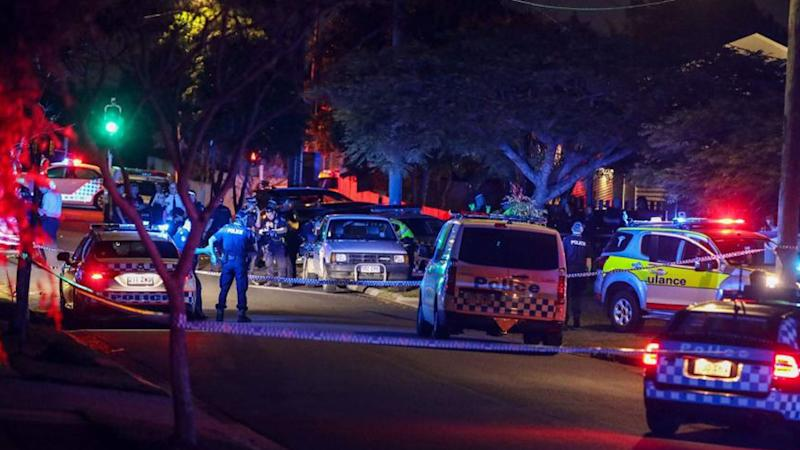 A scene from the police operation at Mount Gravatt