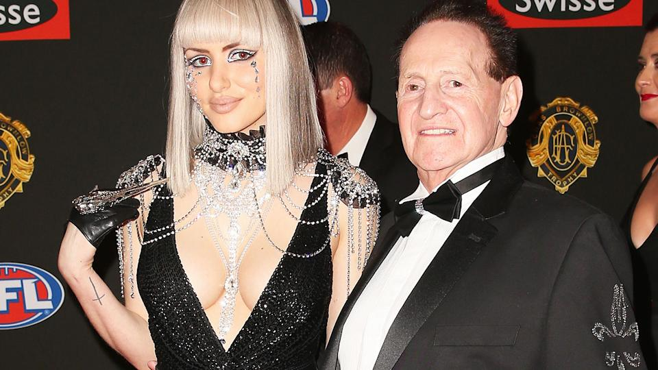 Gabi Grecko and Geoffrey Edelsten, pictured here at the Brownlow Medal in 2014.