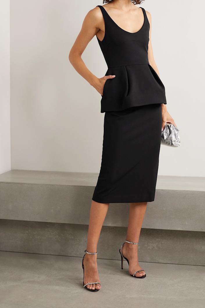 Cushnie Stretch-crepe peplum midi dress