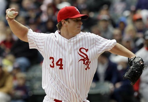 Chicago White Sox starter Gavin Floyd delivers a pitch against the Boston Red Sox during the first inning of an baseball game in Chicago, Sunday, April 29, 2012. (AP Photo/Nam Y. Huh)