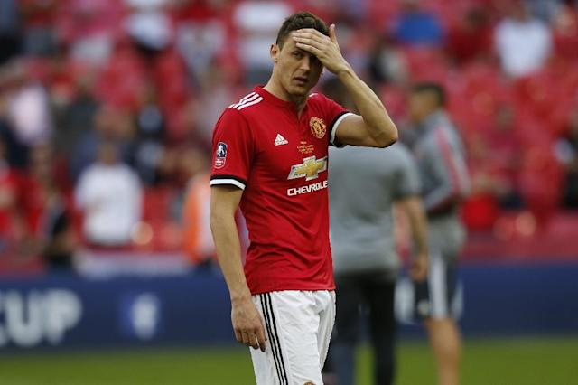 Manchester United midfielder Nemanja Matic reacts to defeat in the 2018 FA Cup final (AFP Photo/Ian KINGTON)