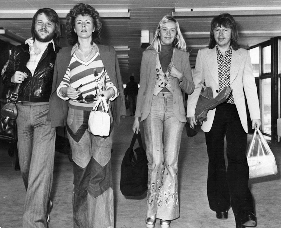 <p>ABBA showing how jeans are really the perfect airport staple...and also how patchwork and embroidery could really spice up classic denim. </p>
