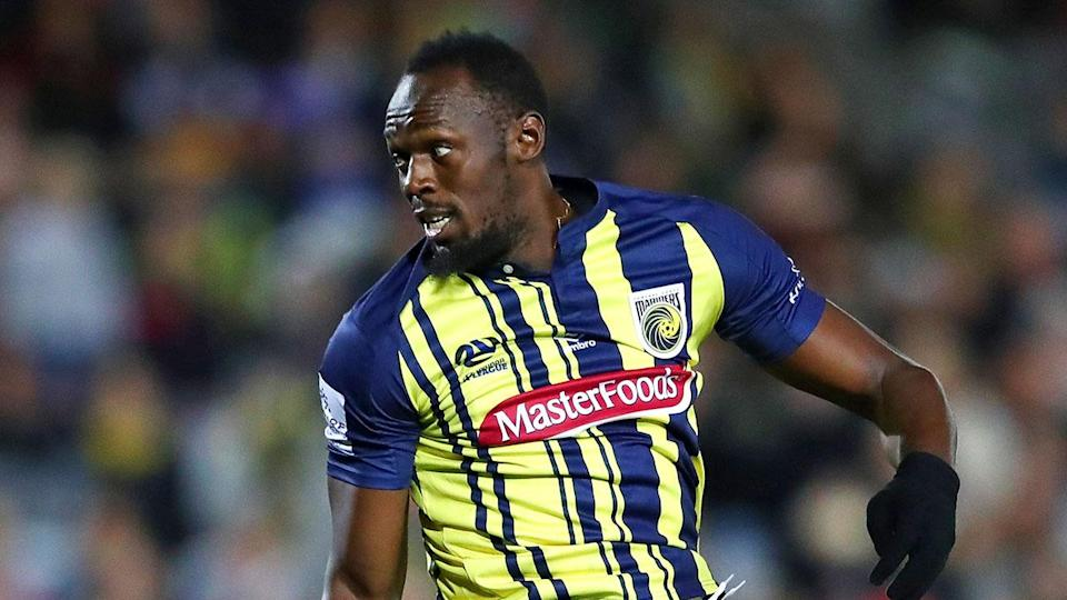 Usain Bolt, professional footballer: the Olympic sprinter made his debut with an Australian club on Friday. (Getty)