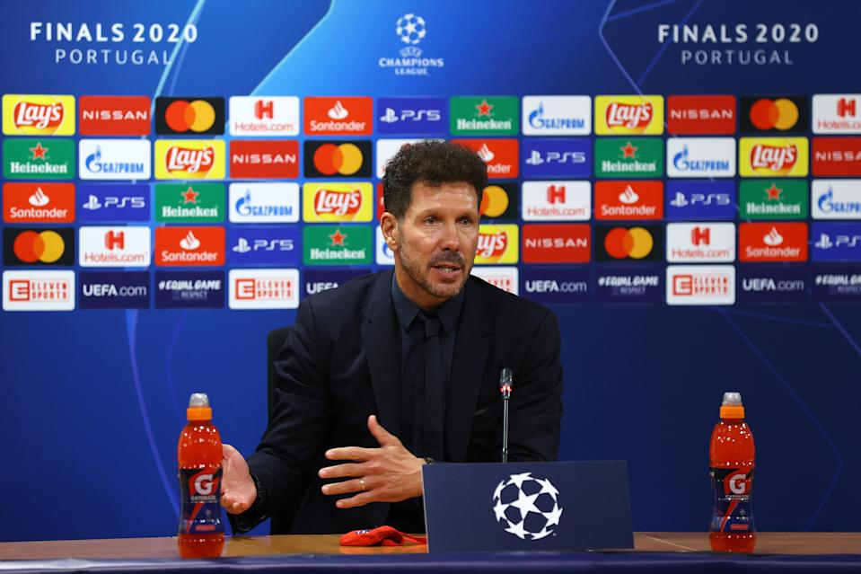 LISBON, PORTUGAL - AUGUST 13: Diego Simeone, Head Coach of Atletico de Madrid speaks to media during a press conference following the UEFA Champions League Quarter Final match between RB Leipzig and Club Atletico de Madrid at Estadio Jose Alvalade on August 13, 2020 in Lisbon, Portugal. (Photo by UEFA - Handout/UEFA via Getty Images)