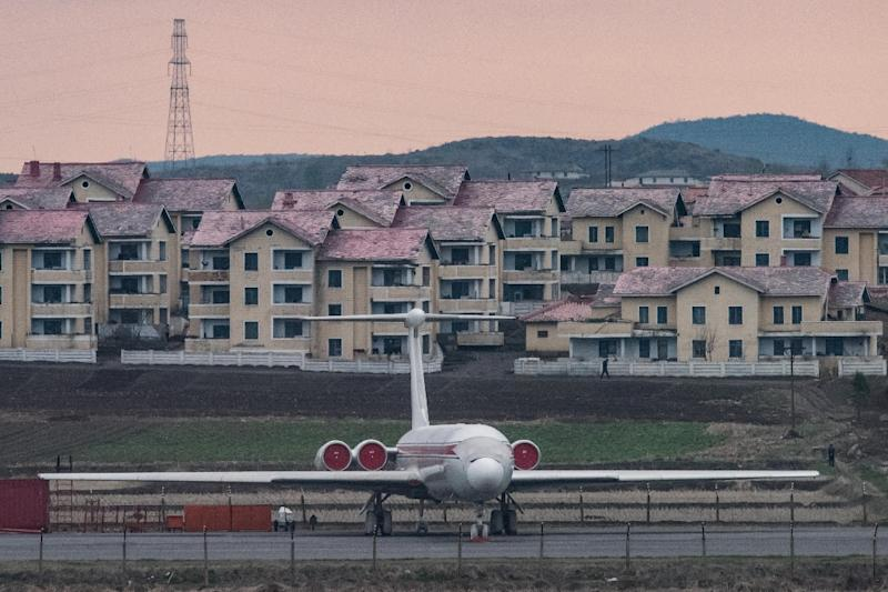 "The vast majority of tourists visiting North Korea are Chinese and authorities have insisted the ban will not affect the economy (FILES) This file photo taken on April 17, 2017 shows an Air Koryo aircraft as it sits parked in front of houses outside Pyongyang airport.The United States on August 2, 2017 officially set a September 1 start date for a ban prohibiting its citizens from traveling to North Korea.""The Department of State has determined that the serious risk to United States nationals of arrest and long-term detention represents imminent danger to the physical safety of United States nationals traveling to and within the Democratic People's Republic of Korea (DPRK),"" read the restriction as it appeared Wednesday in the US government's Federal Register. (AFP Photo/ED JONES)"