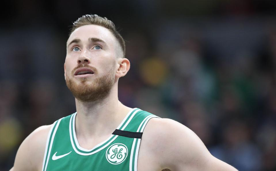 Gordon Hayward #20 of the Boston Celtics watches the action against the Indiana Pacers at Bankers Life Fieldhouse on March 10, 2020 in Indianapolis, Indiana.