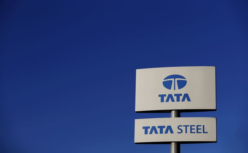 Company logo seen outside the Tata steelworks near Rotherham in Britain