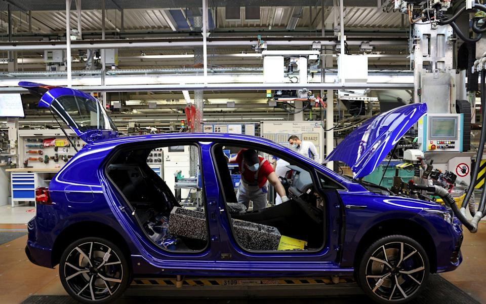 The Golf 8 on a Volkswagen assembly line in Wolfsburg, Germany