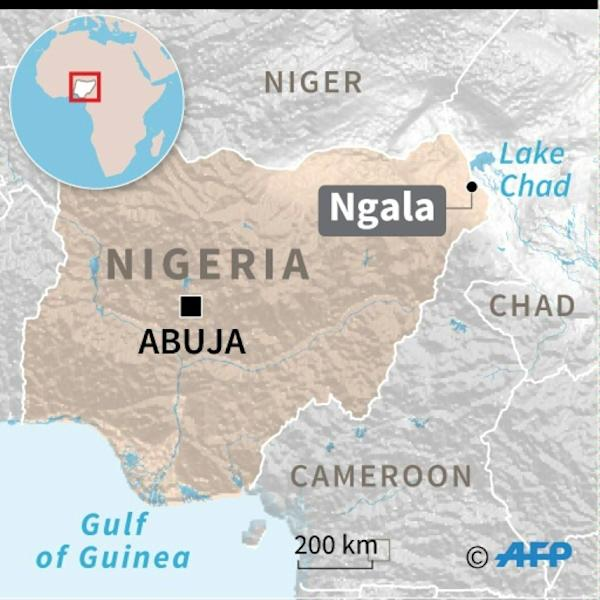 Map of Nigeria locating Islamist attack on humanitarian aid facility in Ngala (AFP Photo/Jean-Michel CORNU)