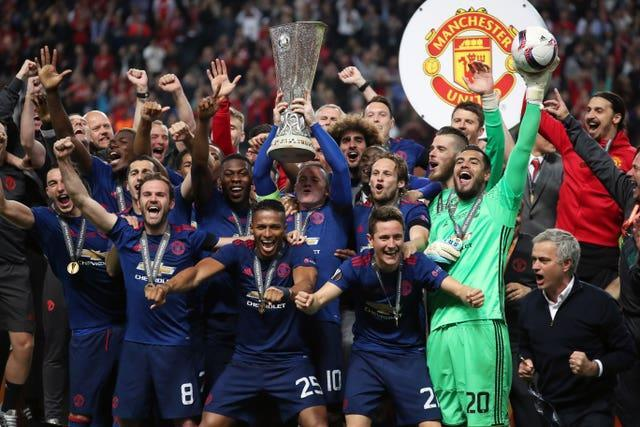 Eric Bailly and his Manchester United team-mates celebrate Europa League glory in 2017 after victory over Ajax