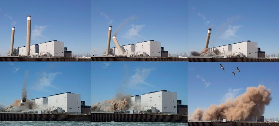 Six photos show the demolition of a coal-fired electricity station.