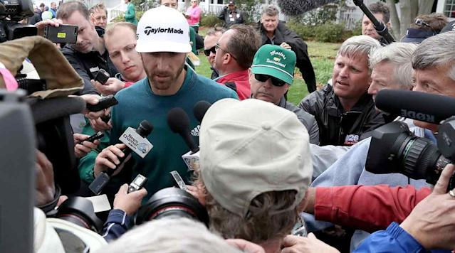 Dustin Johnson speaks to the media after withdrawing from the Masters on Thursday. Johnson entered the week with wins in his last three starts.
