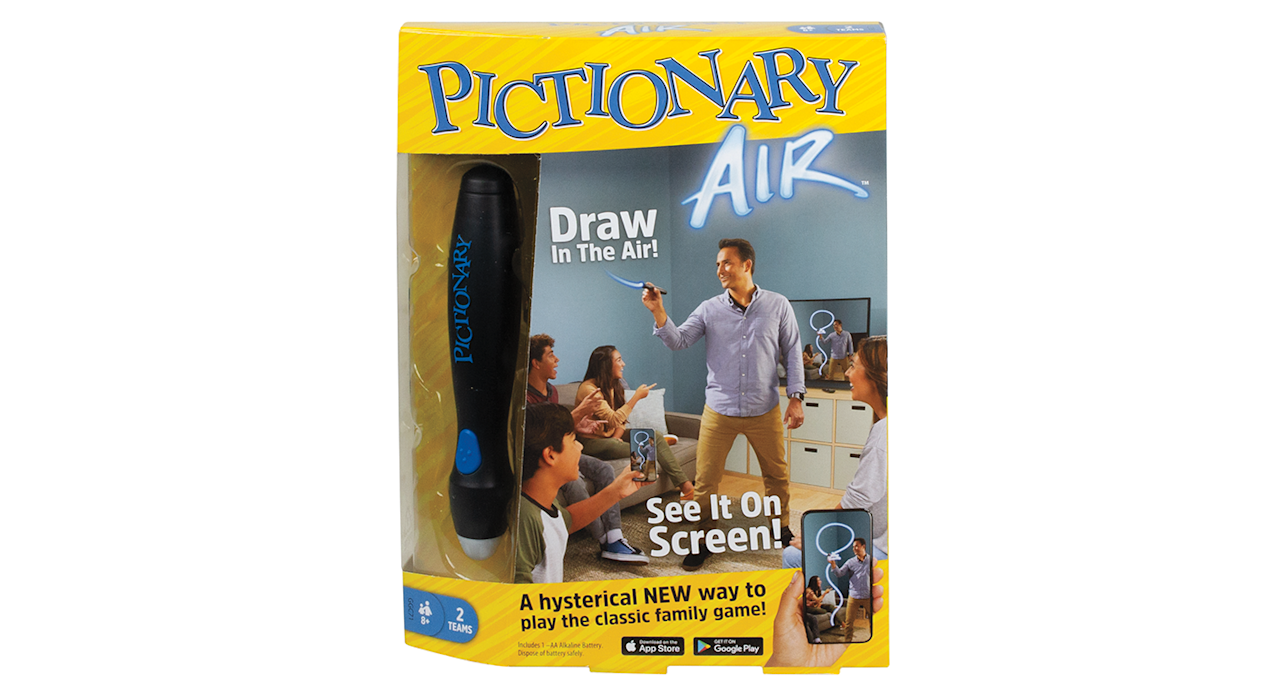 "A twist on the classic family drawing game. Download the Pictionary Air app and the smart pen will allow you to show your drawings on a smart device screen, such as an iPad or TV - the perfect Christmas Day fun. Suitable for ages 8+.<strong> </strong><a href=""https://fave.co/2nx2Zpj""><strong>Shop here.</strong></a>"