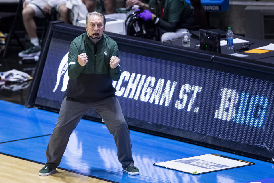 Michigan State coach Tom Izzo yells to players during the second half of a First Four game against UCLA in the NCAA men's college basketball tournament, Friday, March 19, 2021, at Mackey Arena in West Lafayette, Ind. UCLA won 86-80. (AP Photo/Robert Franklin)