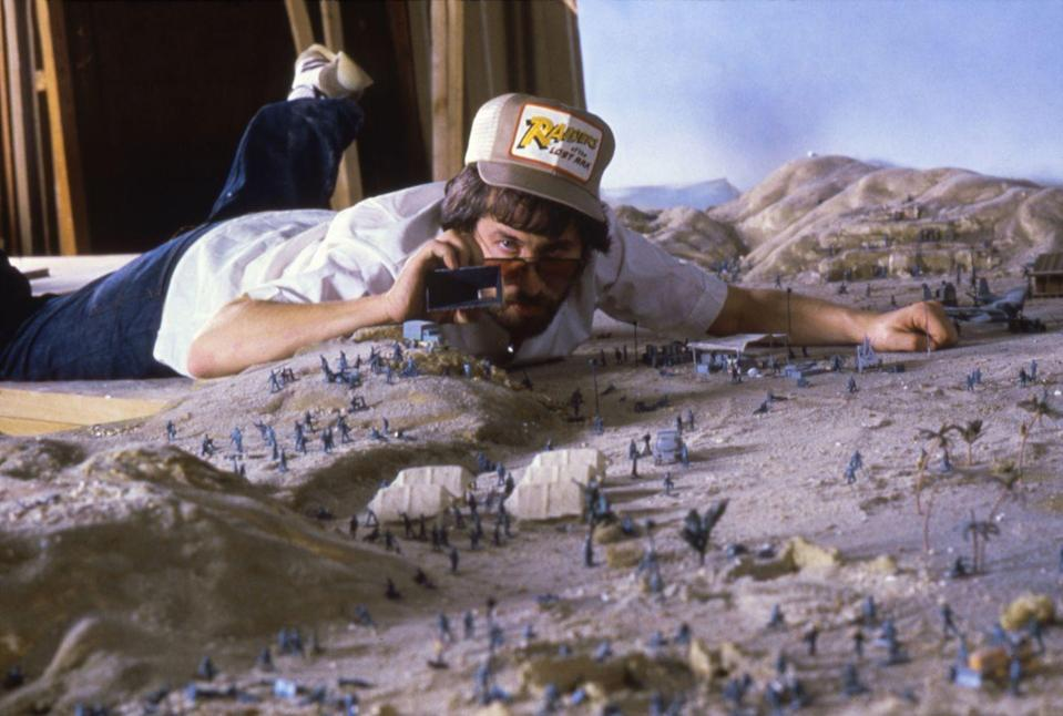 """<p>Director Steven Spielberg used <a href=""""https://www.mentalfloss.com/article/55963/20-adventurous-facts-about-raiders-lost-ark"""" rel=""""nofollow noopener"""" target=""""_blank"""" data-ylk=""""slk:scale miniature versions"""" class=""""link rapid-noclick-resp"""">scale miniature versions</a> of the movie's more elaborate sets to block scenes, which helped him stay on budget and keep up the pace of filming.</p>"""