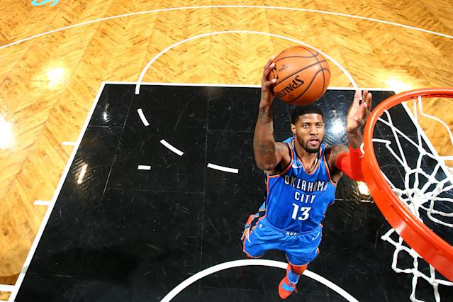 Paul George foi o destaque da vitória do Thunder sobre os Nets (Nathaniel S. Butler/NBAE via Getty Images)