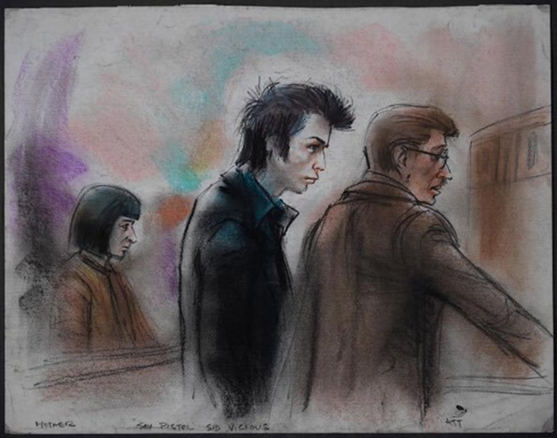 After winning two Emmy Awards for her courtroom sketches, Ida Libby Dengrove went on to depict Sex Pistols frontman Sid Vicious when he was infamously accused of murdering his late girlfriend, Nancy Spungen, who was found stabbed with a knife belonging to Vicious at the Chelsea Hotel in 1978. Whether you're team Sid or Nancy, the incident clearly took a toll on Vicious: Here, he looks much older than his early twenties.