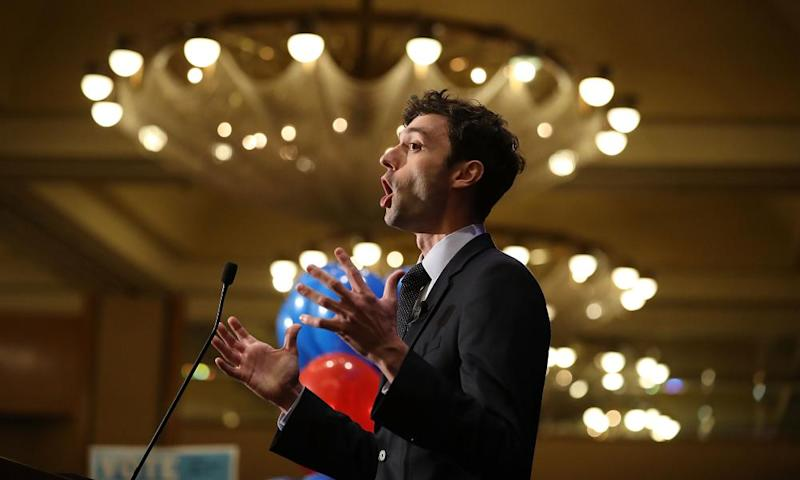 Jon Ossoff speaks to his supporters on Tuesday in Atlanta, Georgia.