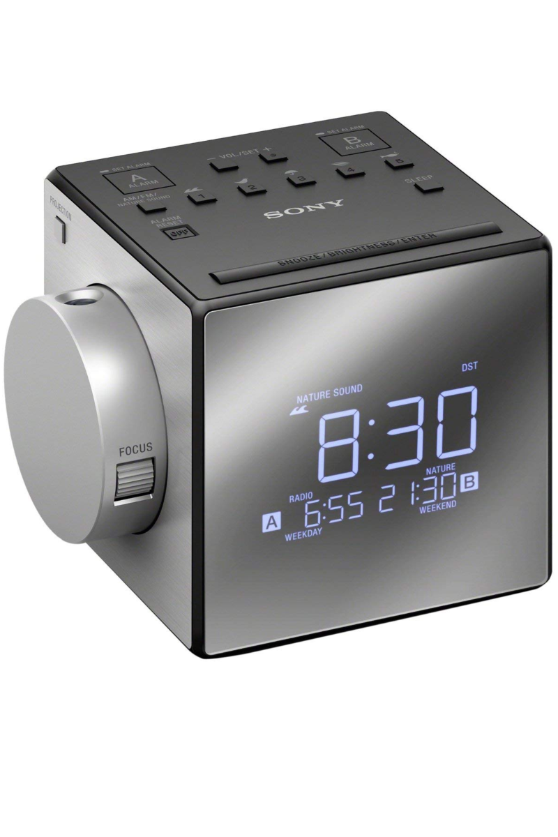 """<p><a rel=""""nofollow noopener"""" href=""""https://www.bestbuy.com/site/sony-am-fm-dual-alarm-clock-radio-black-silver/4801004.p?skuId=4801004"""" target=""""_blank"""" data-ylk=""""slk:BUY NOW"""" class=""""link rapid-noclick-resp"""">BUY NOW</a> <strong><em>$59.99, Best Buy</em></strong></p><p>Complete with sounds of nature and extended snooze, this alarm clock makes it seriously tough to ignore the time, considering it displays it onto the wall or ceiling</p>"""