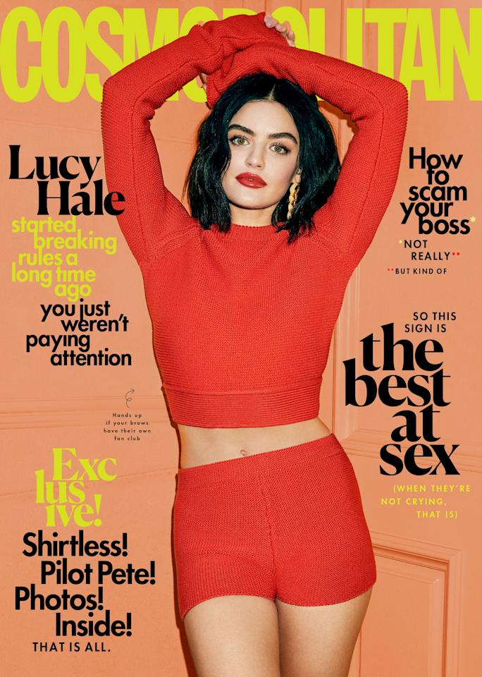 <p>Lucy wearing a Salvatore Ferragamo top and shorts.</p>