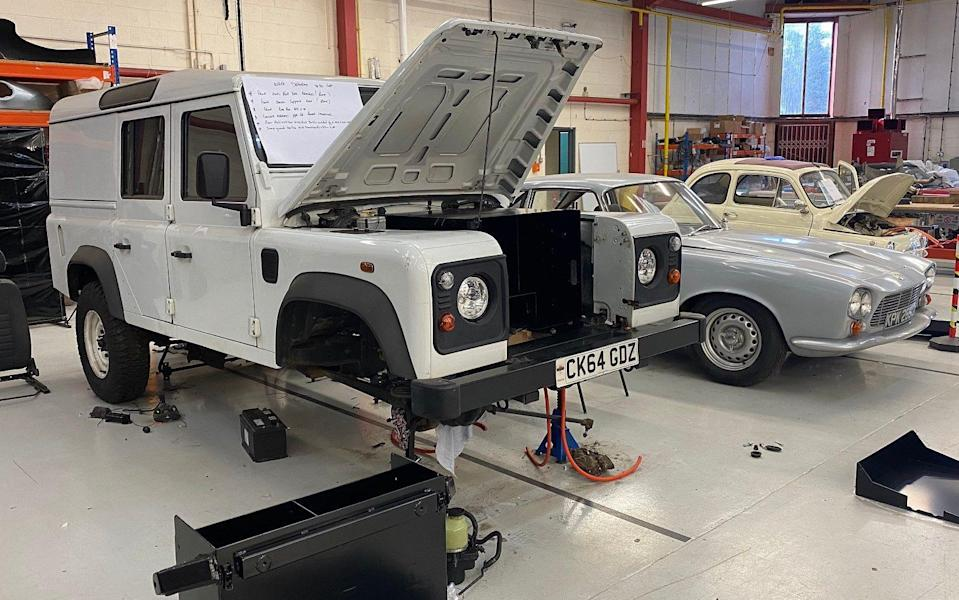 Land Rover Defender awaiting conversion to electric propulsion