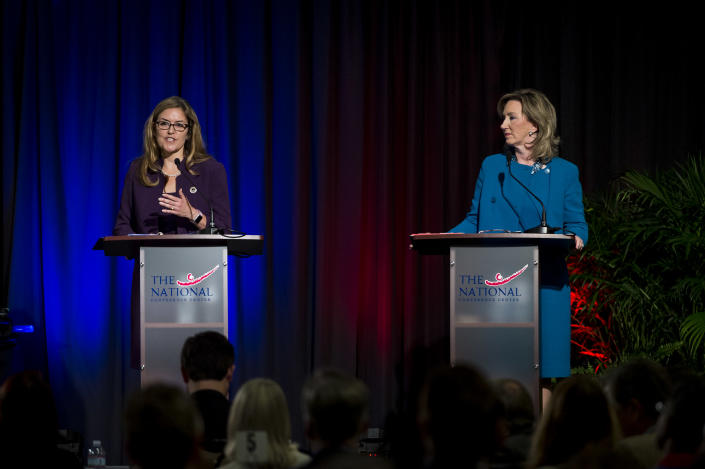 Democratic state Sen. Jennifer Wexton and incumbent Republican Rep. Barbara Comstock, candidates for Virginia's 10th Congressional District, debate in September. (Photo: Pete Marovich/Washington Post via Getty Images)
