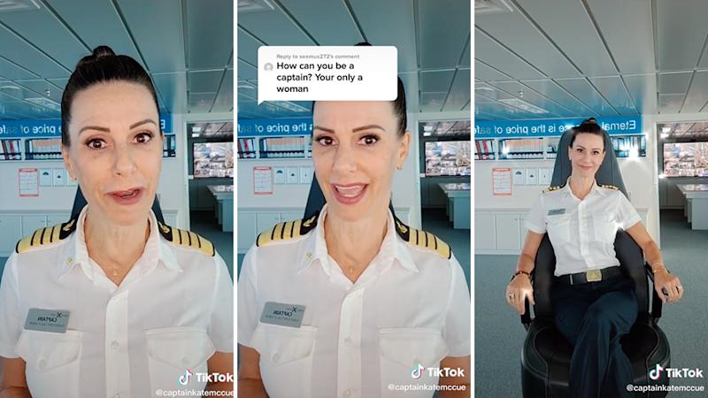 Captain Kate McCue responded to a sexist comment in the best way possible. Source: TikTok/ captainkatemccue