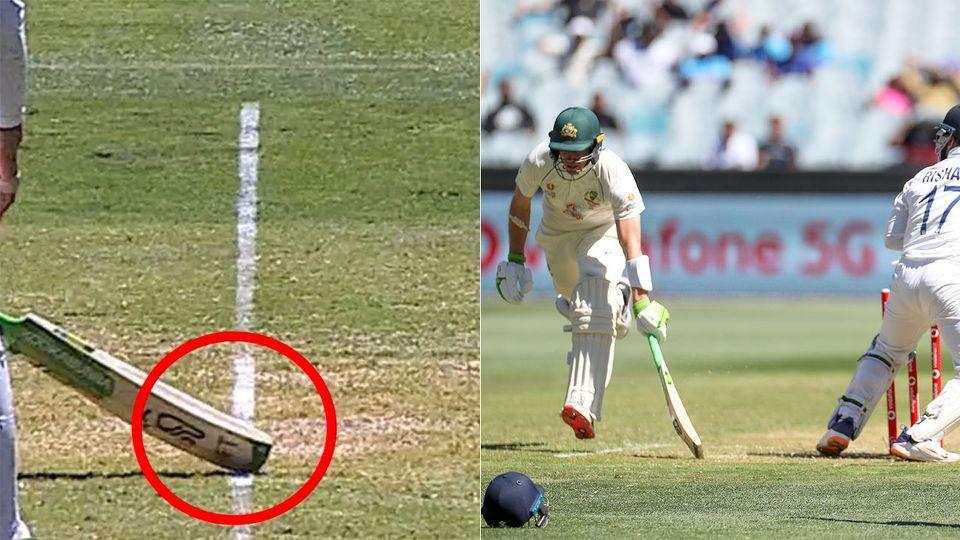 Pictured here, the controversial incident that saw Tim Paine survive a run out shout.