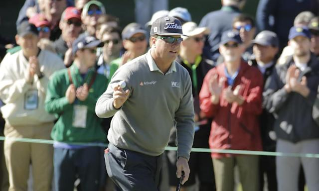 """<span class=""""element-image__caption"""">Charley Hoffman reacts after his putt at the 1st during the second round of the Masters in Augusta.</span> <span class=""""element-image__credit"""">Photograph: Charlie Riedel/AP</span>"""