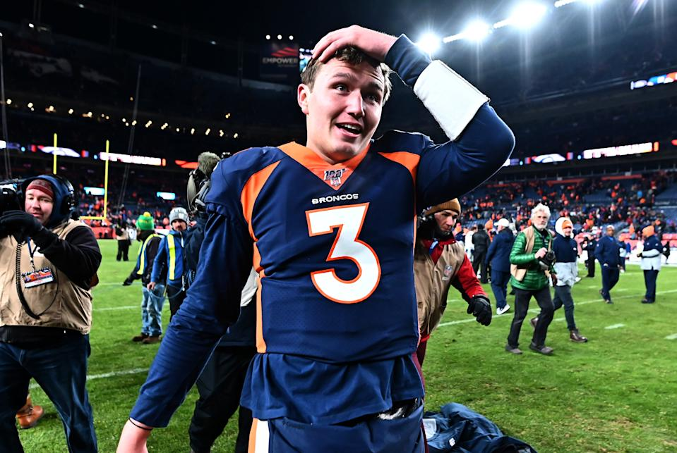 Drew Lock won his NFL debut and got a pleasant surprise along the way. (Ron Chenoy/USA Today)