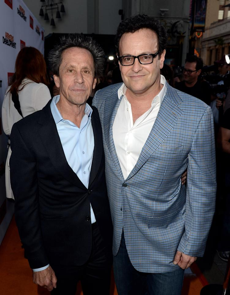 """LOS ANGELES, CA - APRIL 29:  (L-R) Producers Brian Grazer and Mitch Hurwitz arrive at the premiere of Netflix's """"Arrested Development"""" Season 4 at the Chinese Theatre on April 29, 2013 in Los Angeles, California.  (Photo by Kevin Winter/Getty Images)"""