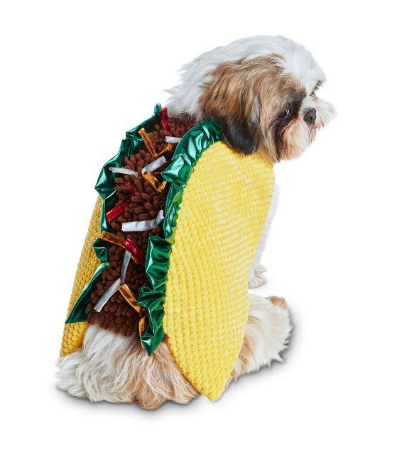 "Get this <a href=""https://fave.co/3nZi5yf"" target=""_blank"" rel=""noopener noreferrer"">Bootique Tasty Taco Dog Costume for $15 (normally $21)</a> at Petco. It's available in sizes XXS-3X and a hook and loop strap."