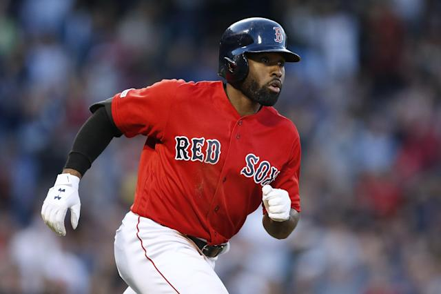 Boston Red Sox's Jackie Bradley Jr. plays against the Baltimore Orioles during the eighth inning of a baseball game in Boston, Sunday, Sept. 29, 2019. (AP Photo/Michael Dwyer)