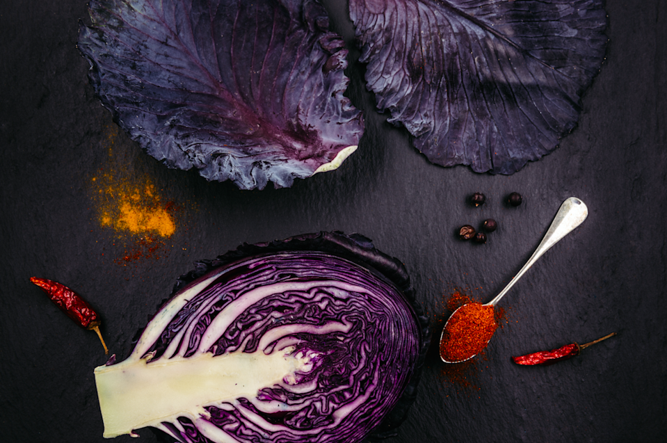 """<p>""""Red cabbage is high in glucosinolates – natural compounds that are thought to have a powerful protective effect for the immune system,"""" explains Shona. """"Red cabbage in particular is rich in anthocyanins too – the red pigments also found in red berries – giving it an extra anti-inflammatory and antioxidant advantage.""""</p><p><b>Ramp-up your recipe:</b></p><p>Swap your bread for red cabbage cups. """"Red cabbage cups are easy to transport, and packed full of antioxidants. You also save at least 200 calories per sandwich. All you need to do is fill each large red cabbage leaf with your usual sandwich filling,"""" says Lily Soutter, Nutritionist and weight loss expert at <a href=""""http://Lilysoutternutrition.com"""" rel=""""nofollow noopener"""" target=""""_blank"""" data-ylk=""""slk:Lilysoutternutrition.com"""" class=""""link rapid-noclick-resp"""">Lilysoutternutrition.com</a> </p><p>Make a delicious healthy coleslaw by mixing finely sliced raw red cabbage, grated carrot and apple and a small amount of finely sliced red onion, dressed with lemon juice, with fennel seeds, pumpkin seeds or chopped walnuts, salt and pepper.<br></p><p>Or stew sliced red cabbage with sliced apples (extra brownie points for using two seasonal foods!) to make a delicious side dish for your roast.<br></p><p><i>[Photo: Getty]</i></p>"""