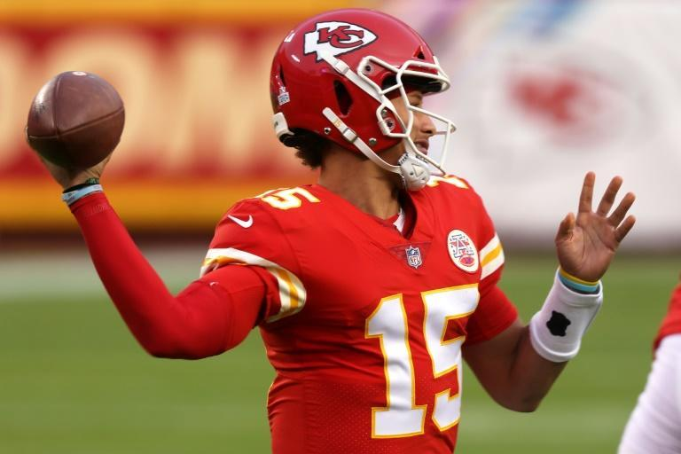 Kansas City Chiefs quarterback Patrick Mahomes throws a pass against the New England Patriots at Arrowhead Stadium