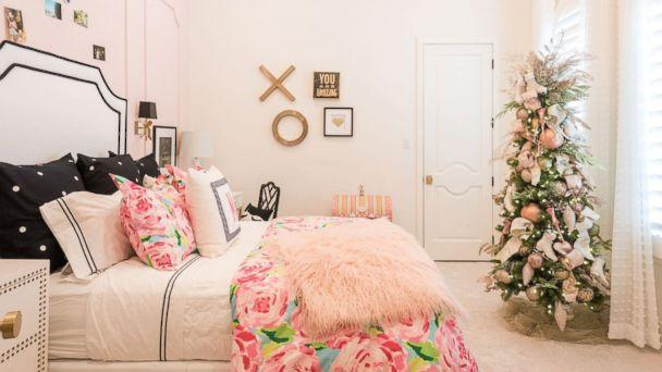 PHOTO: A bedroom is decorated for Christmas by Baker Design Group. (Baker Design Group)