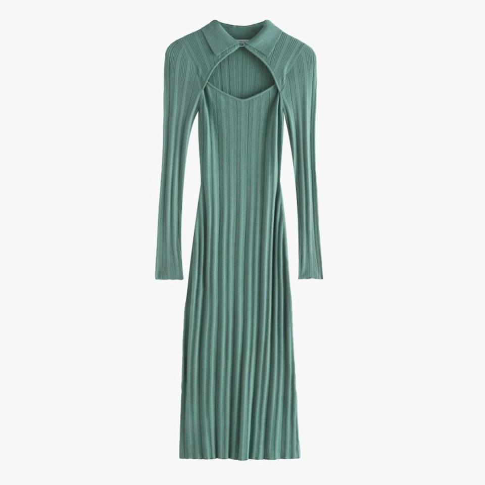 "$99, & OTHER STORIES. <a href=""https://www.stories.com/en_usd/clothing/dresses/midi-dresses/product.fitted-cut-out-midi-rib-dress-green.0901883001.html"" rel=""nofollow noopener"" target=""_blank"" data-ylk=""slk:Get it now!"" class=""link rapid-noclick-resp"">Get it now!</a>"