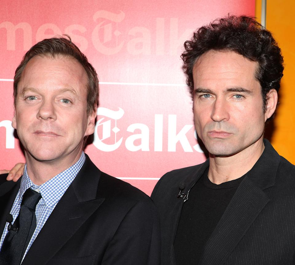TimesTalks Presents A Conversation With The Champion Acting Ensemble, Kiefer Sutherland & Jason Patric with cast members of Broadway's 'That Championship Season' at the Times Center in New York City. (Photo by Walter McBride/Corbis via Getty Images)