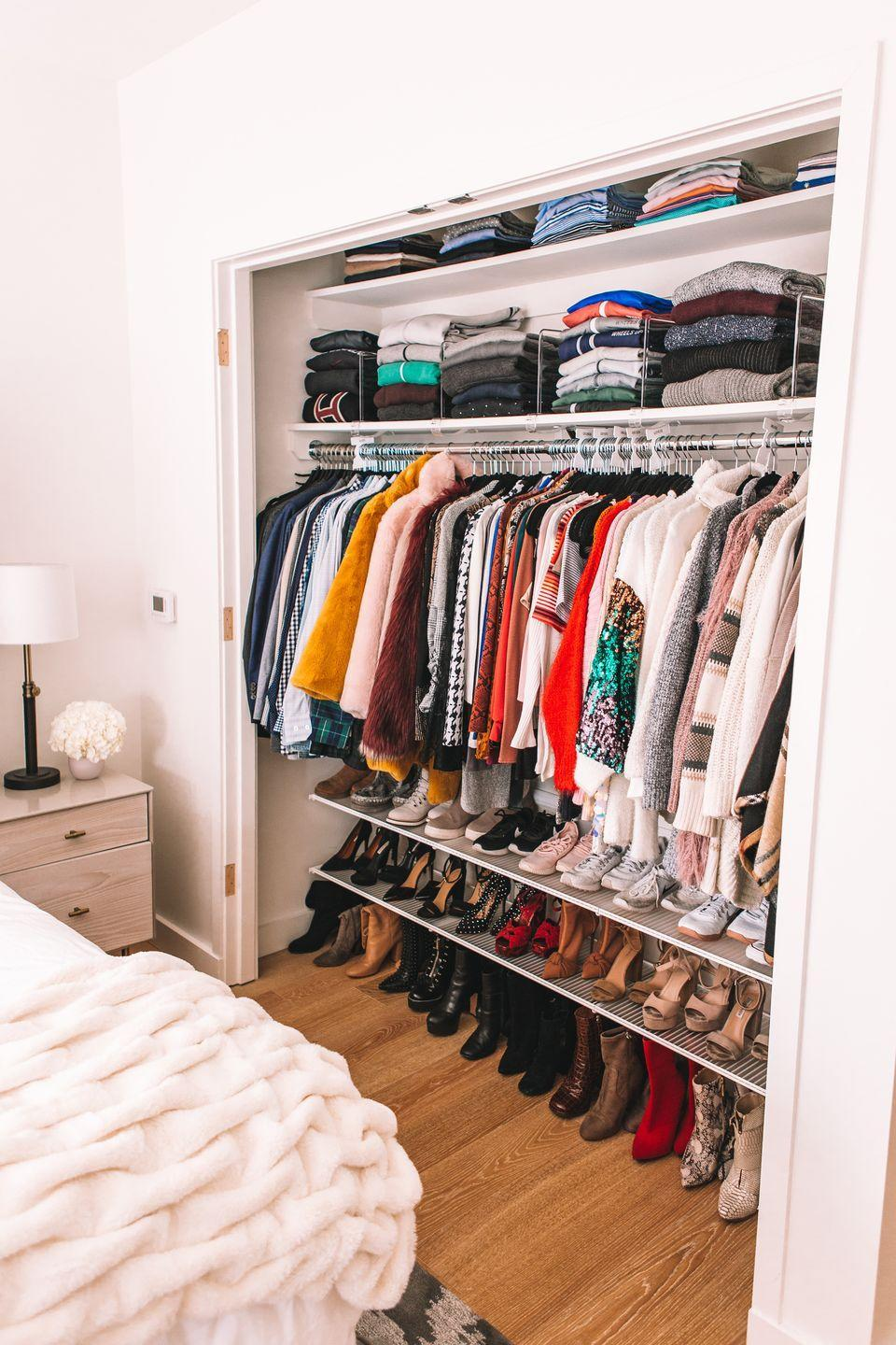 "<p>Most people under-utilize the vertical space in their closets. Put every inch to good use by adding shelves <em>alllllll</em> the way to the top to store lesser-used items, like blogger Olivia Rink did here in her New York City closet.</p><p>See more at <a href=""http://oliviarink.com/decor/organizing-my-nyc-apartment/"" rel=""nofollow noopener"" target=""_blank"" data-ylk=""slk:Olivia Rink"" class=""link rapid-noclick-resp"">Olivia Rink</a>. </p><p><a class=""link rapid-noclick-resp"" href=""https://www.amazon.com/ClosetMaid-5631-SuperSlide-Ventilated-12-Inch/dp/B0014CT6CQ/ref=sxin_3_ac_d_pm?tag=syn-yahoo-20&ascsubtag=%5Bartid%7C10072.g.29994972%5Bsrc%7Cyahoo-us"" rel=""nofollow noopener"" target=""_blank"" data-ylk=""slk:SHOP SHELVING"">SHOP SHELVING</a></p>"