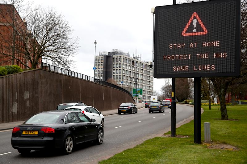 A 'Stay at Home, Protect the NHS, Save Lives' message is displayed to motorists on the ring road in Wolverhampton city centre as the UK continues in lockdown to help curb the spread of the coronavirus. (Photo by Nick Potts/PA Images via Getty Images)