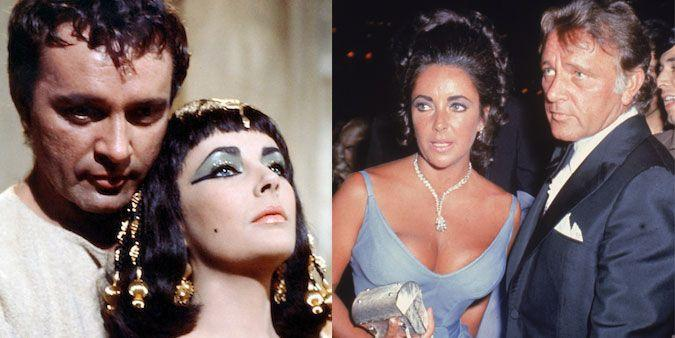 """<p><strong>The movie: </strong><span class=""""redactor-invisible-space""""><em>Cleopatra </em><span class=""""redactor-invisible-space"""">(1963)</span></span></p><p>One of the most famous costar romances of all time began when the duo played historical lovers Cleopatra and Mark Antony in the big-budget film. They went on to star in a number of movies together, and they married and divorced — twice. Their relationship is one of the most infamous in Hollywood.</p><p><strong>RELATED: <a href=""""https://www.goodhousekeeping.com/love-sex/relationships/g4125/celebrity-couples-reunited-after-breakups/"""" rel=""""nofollow noopener"""" target=""""_blank"""" data-ylk=""""slk:12 Celebrity Couples Who Got Back Together After Breaking Up"""" class=""""link rapid-noclick-resp"""">12 Celebrity Couples Who Got Back Together After Breaking Up</a></strong><br></p>"""