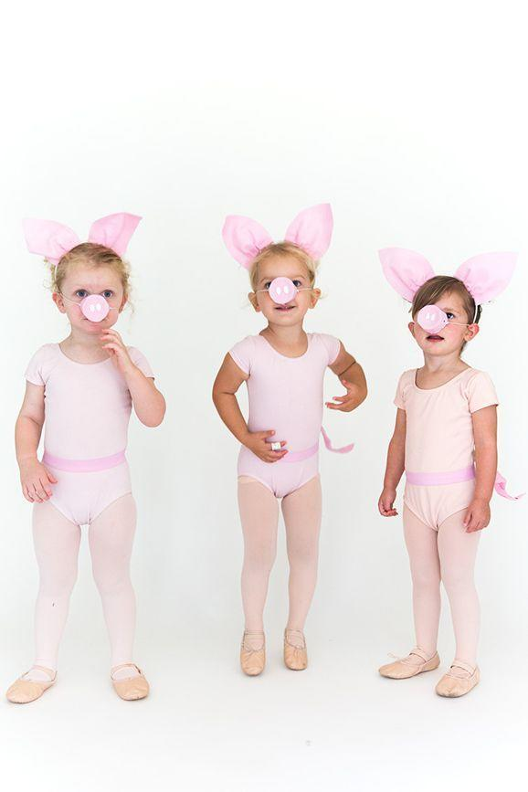 """<p>This one's easy if the tiny BFFs are already enrolled in a ballet class because they already have leotards, tights, and ballet shoes. Just add bright pink snouts, tails, and ears to make them the loveliest piglets ever. </p><p><em><a href=""""https://sayyes.com/2016/09/three-little-pigs-halloween-costume"""" rel=""""nofollow noopener"""" target=""""_blank"""" data-ylk=""""slk:Get the tutorial at Say Yes >>"""" class=""""link rapid-noclick-resp"""">Get the tutorial at Say Yes >></a></em></p>"""