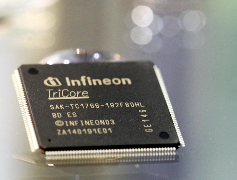 File picture for illustration shows an Infineon microchip at the Semicon expo in Dresden, Germany, on October 9, 2013