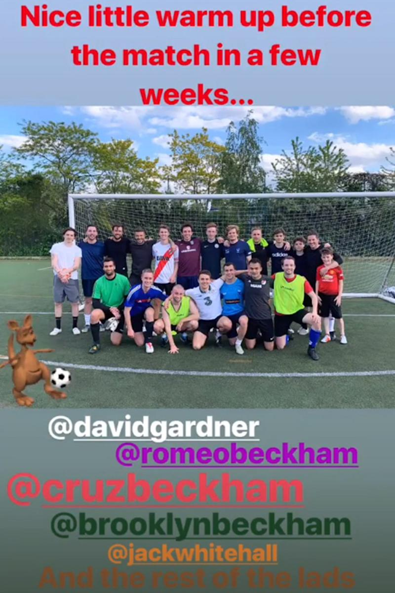 Warm-up: Beckham joined family and friends for a kickabout (Instagram @davidbeckham)