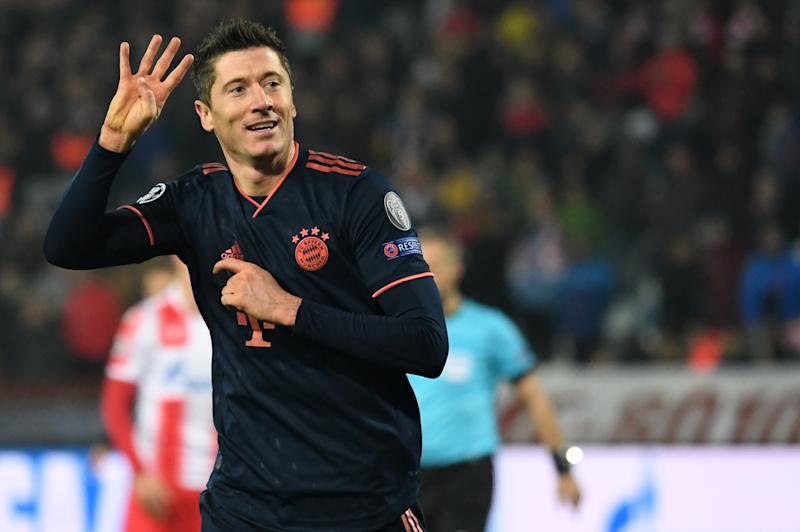 Robert Lewandowski scored four goals in Bayern Munich's domination of Red Star Belgrade, and broke a couple records in doing so. (Photo by Sven Hoppe/picture alliance via Getty Images)